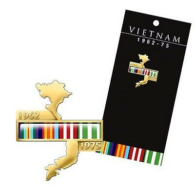 Vietnam Map Lapel Pin with Campaign Ribbons *  *Vietnam Veterans Day Aug 18th