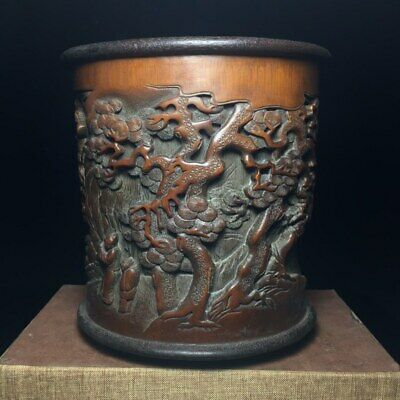 """6"""" Chinese old antique bamboo carving Wood Pine people man Beauty Brush Pot"""