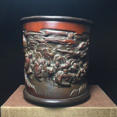"""6"""" Chinese old antique bamboo carving Wood Eighteen Arhats luohan Brush Pot"""