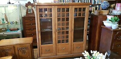 South Melb Now $100 OFF.Oak Bookcase Display Cabinet France French Antique