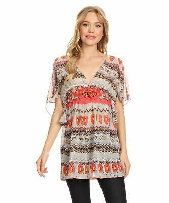 Sienna Rose Women's Blouse Coral Printed V-Neck Elastic Waist Summer Top Small