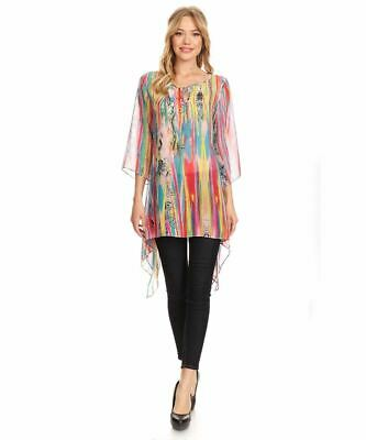 Sienna Rose Women's Tunic Blouse Multicolor Print Tunic Top 3/4 Sleeves Small