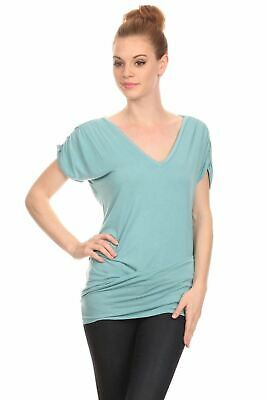 Onno Los Angeles Women's Laetitia V-Neck Blouson Short Sleeve Top Solid Lagoon