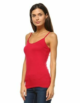 Anna Women's Camis Tank Top Stretch Camisole Layering Plain Tee Solid Red
