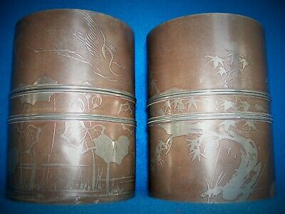 Pair Antique Chinese Pewter Tea Caddy Cannisters  Signed Birds