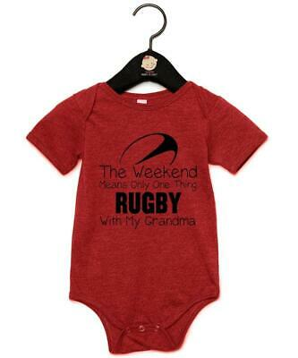"Baby Grow ""Weekends Mean One Thing Rugby With My Grandma"" Rugby Baby Vest"