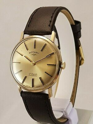 Gent's Vintage Swiss Rotary Solid Gold 17 Jewel Wristwatch 9Ct Excellent!