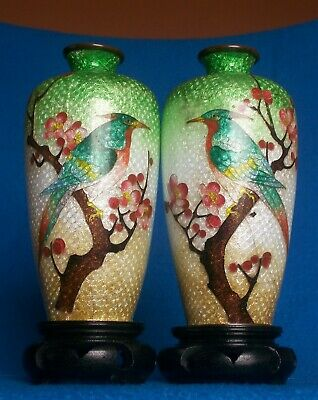 PAIR ANTIQUE CHINESE CLOISONNE VASES SIGNED BIRDS c1900
