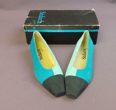 SEDUCTA Size 8 Turquoise Nubuck Leather Ladies Heeled Court Shoes New Boxed #