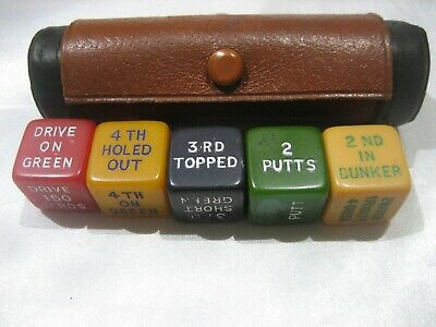 Vintage 1930'S-1940'S Bakelite Golf Dice Leather Case Made In England