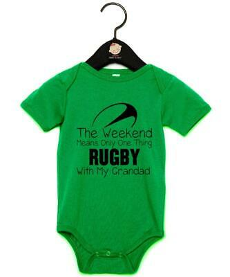 "Baby Grow ""Weekends Mean One Thing Rugby With My Grandad"" Rugby Baby Vest"
