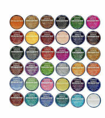 SNAZAROO 18ML Classic Face Paint All Colours Sponge Fancy Dress Stage Halloween