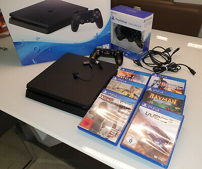 Sony PlayStation 4 Slim 500GB + 2 Controller + 6 Spiele.