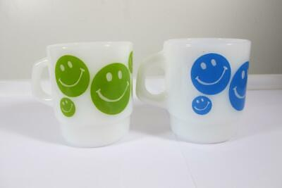2 Vintage Anchor Hocking Fire King Smiley Face Smile Blue & Green Coffee Mugs