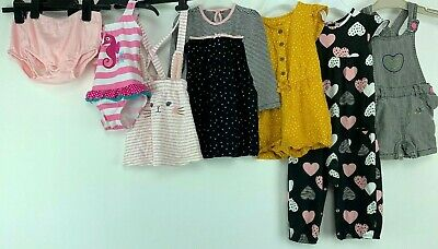 Girls 12/18 Months Clothes Bundle Swimsuit Dungaree Dress Romber Heart Print H&M