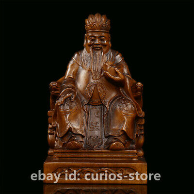 """4.5"""" Collect Chinese Box-wood Hand-carved Mammon Money Wealth God Yuanbao Statue"""