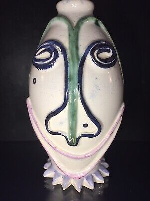 RARE Mid Century MODERNIST ABSTRACT FACE Clown Pottery Vase Picasso Style, 1987