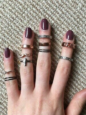 Job Lot 10 Mixed Metal Midi Rings Costume Jewllery