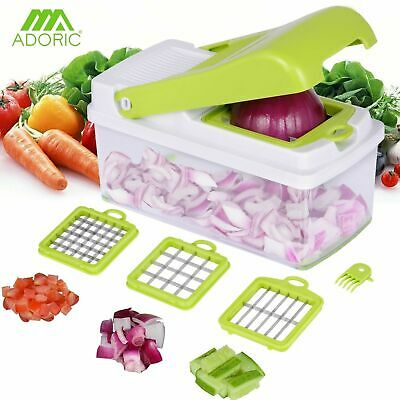 Manual Vegetable Chopper Onion Potato Kitchen Food Slicer Dicer  - 3 Cutters Set