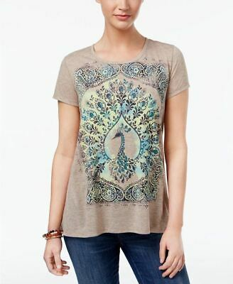 Style Co Peacock Graphic T-Shirt Oatmeal S