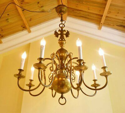 Large antique vintage French chic brass flemish 8 lamp ceiling light chandelier