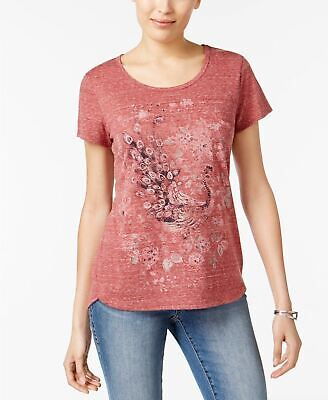 Style Co Foiled Peacock Graphic Top Red XL