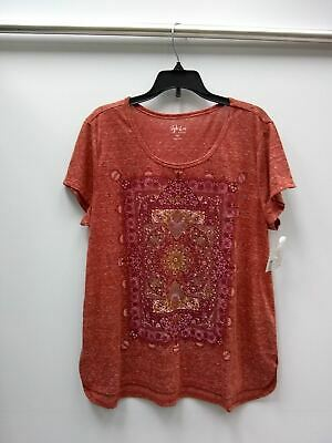 Style Co Foiled Peacock Graphic Top Red L