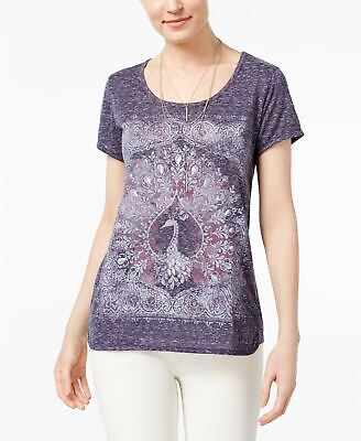 Style Co Foiled Graphic T-Shirt Dyed Peacock XS