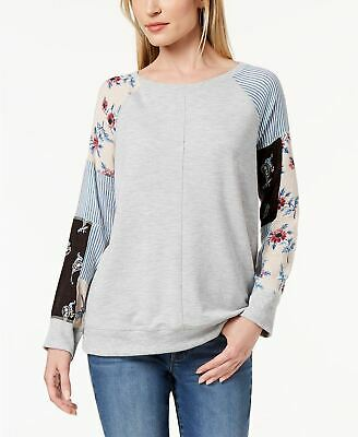 Style Co Patchwork-Sleeve Sweatshirt Sunshine Patch M