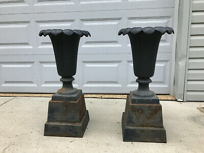 Pair Large Antique Victorian Cast Iron Urn Planters with Bases Ornate Metal