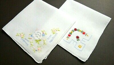 2 Swiss Embroidery Linen Hankies Delicate Hand Embroidery & Drawnwork, Vintage