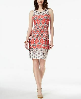 Charter Club Petite Printed Shift Dress Crushed Coral Combo PXS