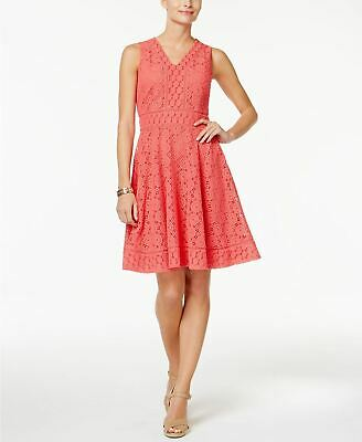 Charter Club Petite Lace Fit Flare Dress Crushed Coral PL