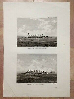 Russia Canoes Of Orotchys & Bitchys 1797 Voyage De La Perouse Large Antique View
