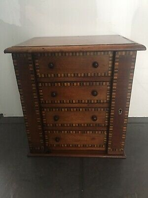 Victorian Antique Chest Of Drawers Miniature Apprentice Piece Inlaid Vintage Old