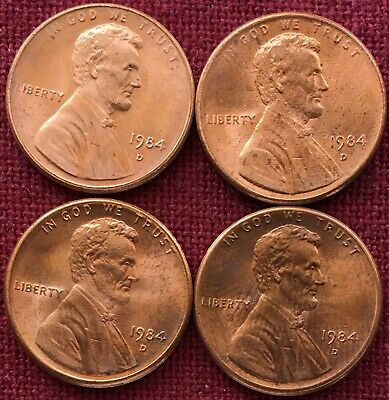1984-D LINCOLN CENT AU - Lot Of 4