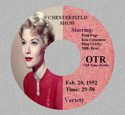 PATTI PAGE Old Time Radio Show RARE Vinatge OTR 1 CD CHESTERFIELD SHOW Variety