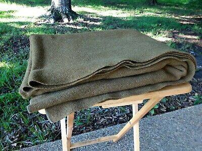 Vintage WWII  Olive Drab US Wool Blanket ARMY NAVY MARINE CORPS - THREADED KM