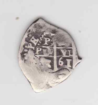 1661 Bolivia 1 Reales Silver  Spanish Colonial Cob holed and plugged
