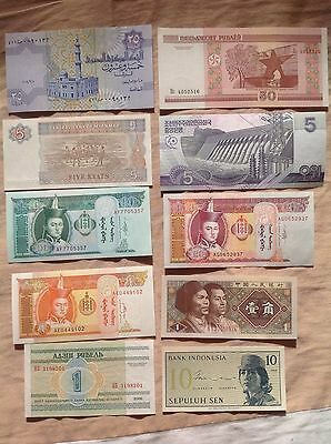 10 Pcs Different Banknotes World Paper Money Set/Lot - UNC From Bundle