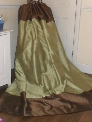 Large Heavy Quality Silk Style Curtains Olive Green & Bronze - Ring Top F.lined