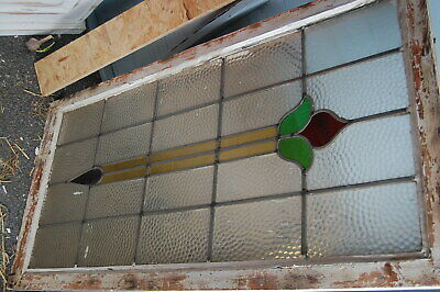 Vintage 1930 stain glass leaded windows,