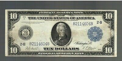 $10 1914 Federal Reserve Bank Note Ten Dollar Bill New York Currency