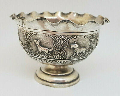 Antique Solid Silver Outstanding Burmese,Indian Animals Bowl 79.3 G.