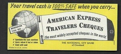 Advertising Blotter Cleveland OH American Express Travelers Cheques *AM59