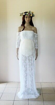 White Lace Off Shoulder Maternity Dress Gown - Photography Photo Prop
