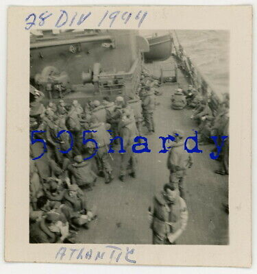 WWII US GI Photo - 28th Infantry Division GIs On Ship During Atlantic Cross #2