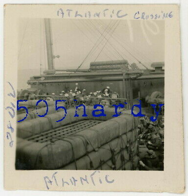 WWII US GI Photo - 28th Infantry Division GIs On Ship During Atlantic Cross #1