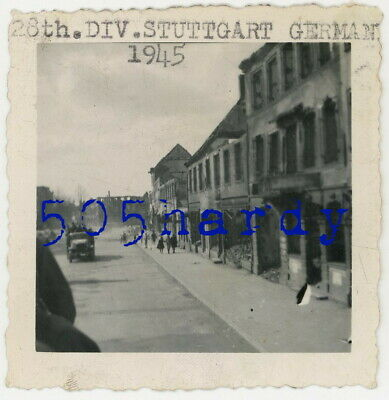 WWII US GI Photo - 28th Infantry Division Convoy Pass Through Stuttgart Germany