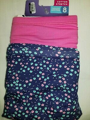 2 Hanes Hipster Panties Size 8 Panty NO PACKAGING Cotton Stretch Pink Blue New